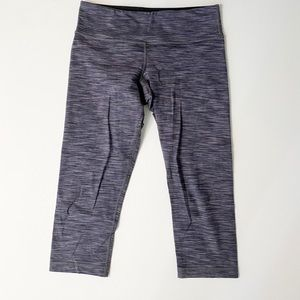 Lululemon Purple Striped Wunder Under Crop Legging